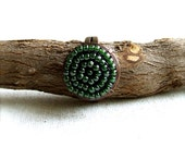 Small Green Beadwork Ring Glass Seed Beaded Woven Copper Beadwoven Rustic Brown Woodland Forest Pod Fashion Jewellery