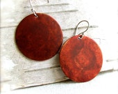 Brick Red Patinaed Copper Disks, Sterling Silver - Earrings -Lust - Fall Fashion - balanced