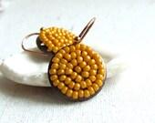 Copper, Mustard Glass Seed Bead - Beadwoven Earrings -Toffee Pods -Jewellery