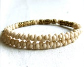 Cream Beaded Glass, Ornate Brass - Cuff Bracelet Bangle- Four Winds in Cream - Handmade Fashion
