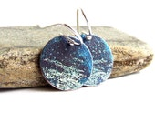Patina Earrings - Blue Patinaed White Brass Disks, Sterling Silver -Shoreline - Fall Fashion