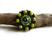 Green Glass Beaded Brass - Spinner Ring -Greens -Beadwoven Jewelry - Fall Fashion- Black Friday