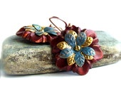 Red Blue Flower Dangle Drop Earrings Burgundy Floral Patina Riveted Fashion Jewellery