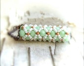 Mint, Peach, White Glass Seed Beaded - Beadwoven Bracelet - Harlequin - Copper - Fall Fashion