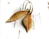 Rust Orange Patinaed Brass Leaf - Patina Earrings - Leaflet Woodland -Jewellery