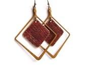 Mustard Yellow, Brick Red Patinaed Brass -Patina Earrings - Geometric Framed -Jewellery
