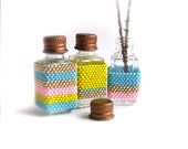 Bright Stripe Small Container Tiny Square Beaded Bottle Set Pink Aqua Blue Yellow Gold Handmade Home Decor Glass Vial Cork Bud Vase