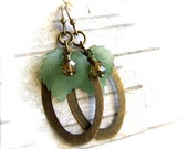 RESERVED - Vintage Lucite, Glass, Brass - Earrings -Sage - Fall Fashion