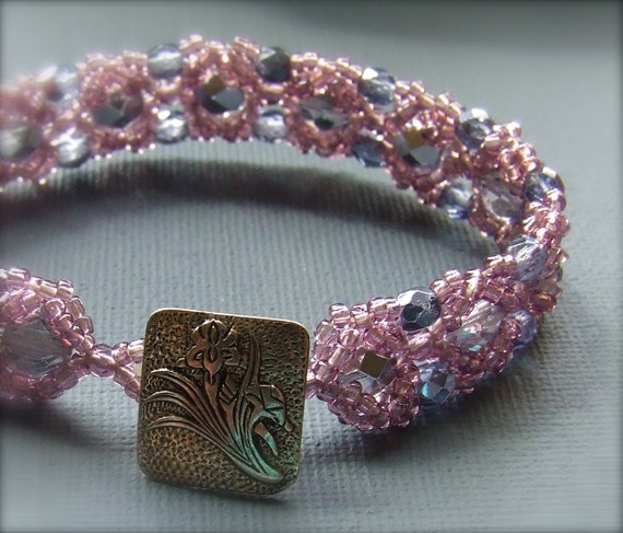 Glass, Sterling Silver-Beadwoven Bracelet - 'Iris'