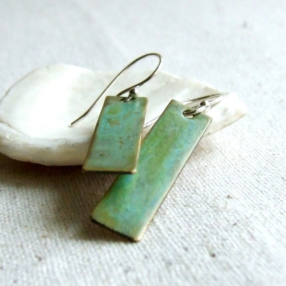 Verdigris Green Patina Rectangle Drop - Earrings - 'Sleek in Green'