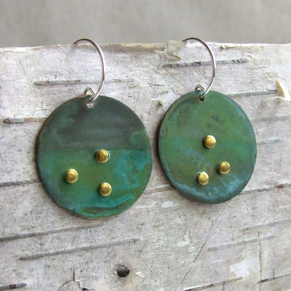 Verdigris Patinaed Brass Circle - Earrings - 'Mother Earth'