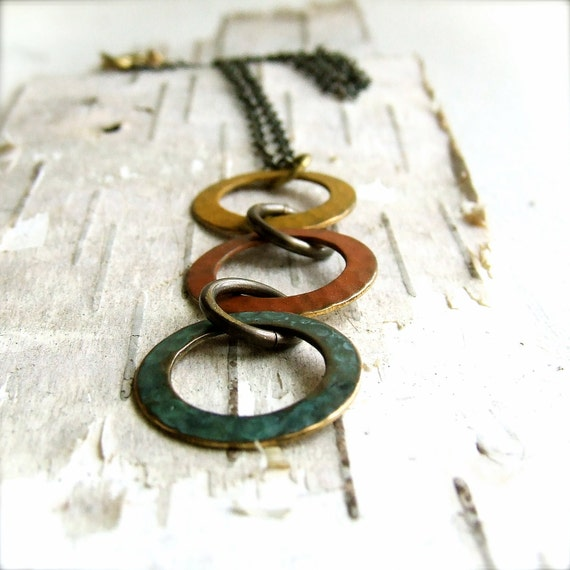 Rustic Hand Patinaed Textured Brass Hoops - Necklace -Three Rings, No.2 - Handmade Fashion