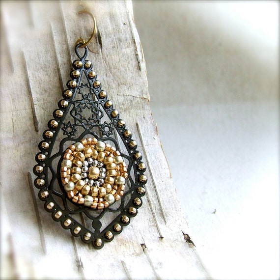 Large Gold Beadwoven Black Teardrop, Brass - Earrings -Mia - Handmade Fashion