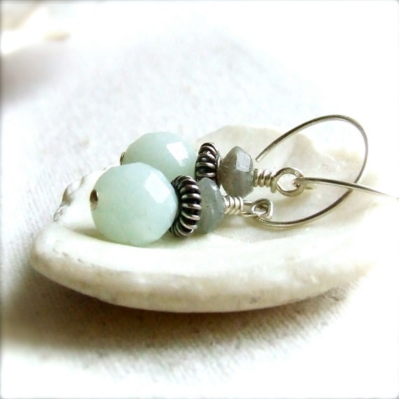 Labradorite, Amazonite, Sterling - Gemstone Earrings -Faint - Handmade Fashion