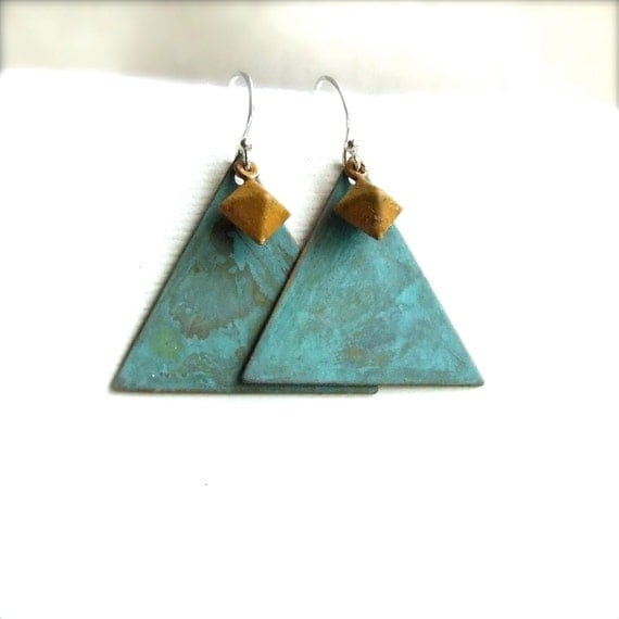 Reserved for Anna - Teal Verdigris Patina Triangle, Mustard - Patina Earrings -Yours - Spring Fashion