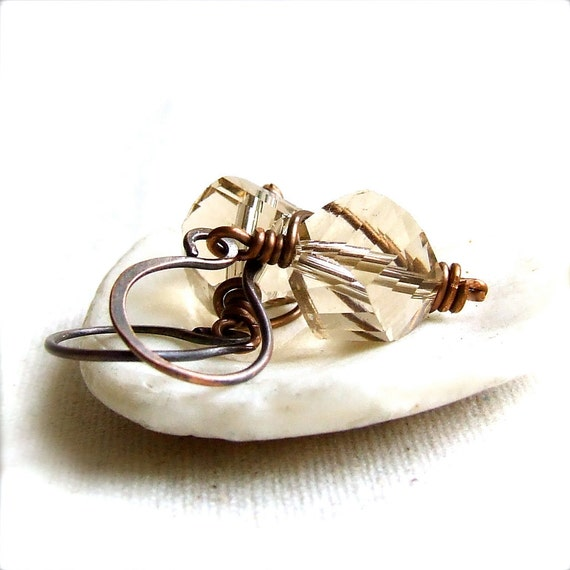 Smoky Quartz, Copper Wire Wrapped - Gemstone Earrings -Caged in Brown - Fall Fashion