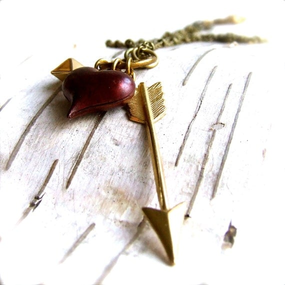 Red Patinaed Brass Heart, Brass Arrow - Necklace -