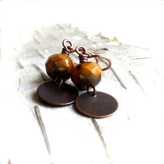 Rustic Orange Glass, Antiqued Copper - Beaded Earrings - Orange Spice - Fall Fashion
