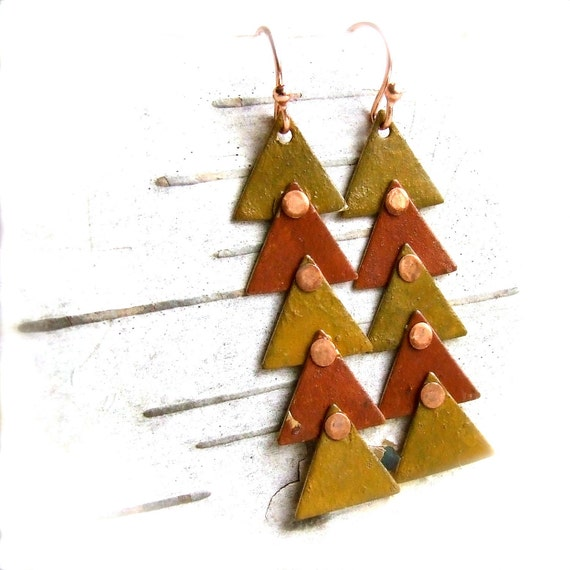 Mustard Saffron Patinaed Brass Triangle Riveted - Earrings - This Way - Rustic Fall Fashion