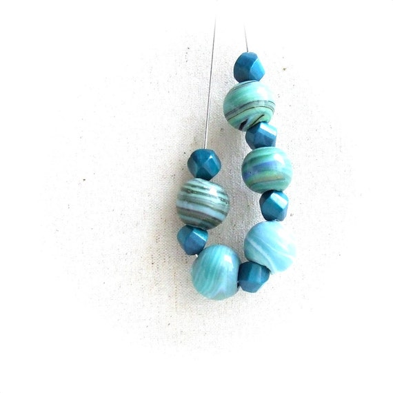 Chunky Turquoise Beadwork Strand Necklace Teal Wood Beaded Jewellery