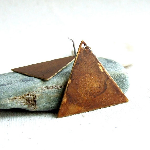 Brown Brass Triangle, Sterling Silver - Patina Earrings -Triangles in Brown -Jewellery