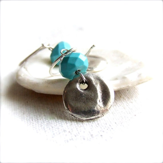 Turquoise, Ceramic Silver Rustic Coin - Stone Earrings -Quiet- December Birthstone -