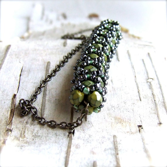 Green Glass Bead Woven Tube - Slide Necklace -Cimbicid in Olive - Handmade Fashion-Jewellery