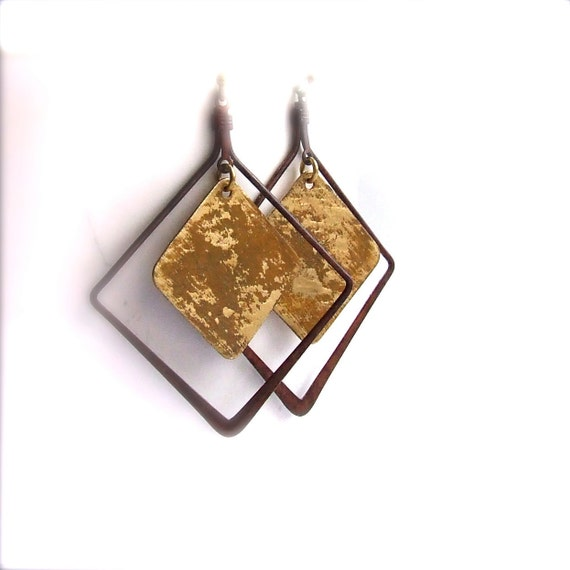 Rustic Brown Mustard Patinaed Brass - Patina Earrings - Framed - Handmade Fashion - Geometric - Summer Trends