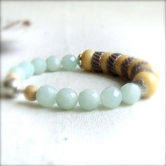 Mint Green Amazonite, Ivory Glass, Sterling - Bracelet -Gathering - Handmade Fashion