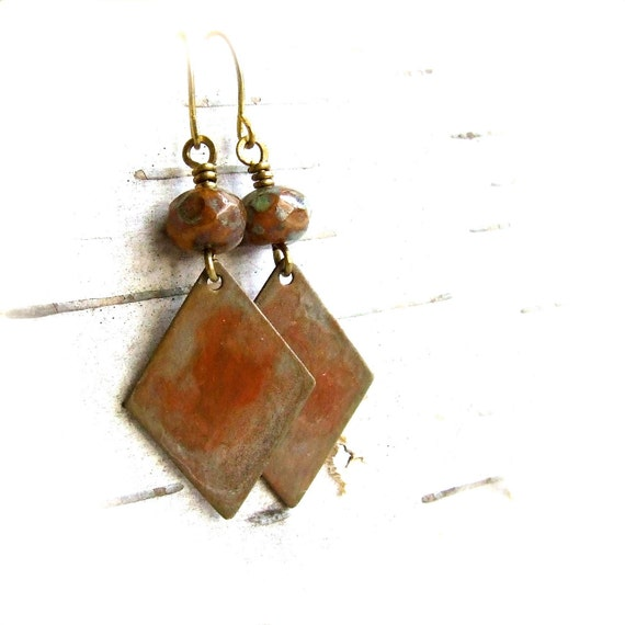 Rust Patinaed Brass Diamond - Patina Earrings -Rust -Jewellery