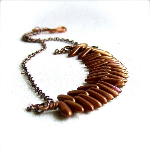 SALE - Copper Glass Dagger - Fringe Necklace -Strand NecklaceJewellery