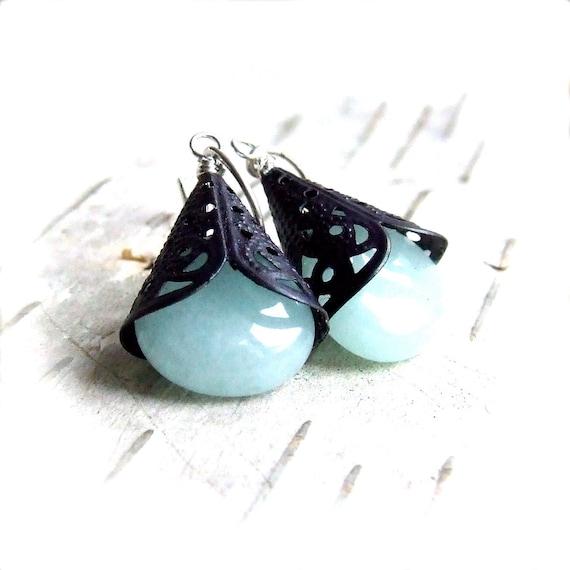 Blue Jade Dangle Drop Earrings Stone Teardrop Aqua Navy Patina Sterling Silver Fashion Jewellery