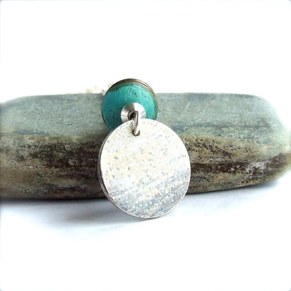 Patina Pendant Charm Necklace White Wash Turquoise Verdigris Handmade Fashion Boho Jewellery