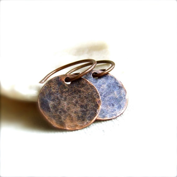 Blue Patinaed Textured Copper Round Disk - Patina Earrings -Craters in Blue - Organic Handmade Fashion - Summer Trends