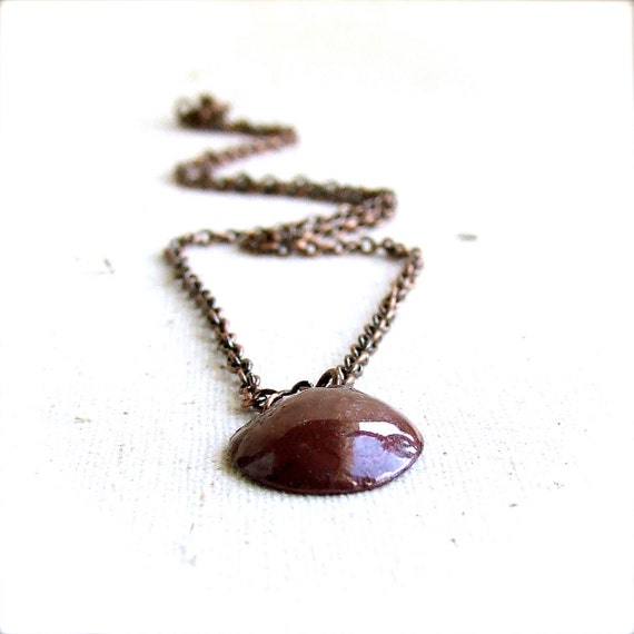 Oxblood Red Round Pendant Necklace Torch-Fired Copper Enamel Circle Metalwork Jewellery