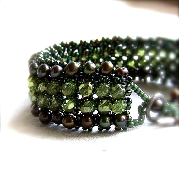 Dark Green Beadwork Bracelet Wide Beadwoven Band Beaded Glass Fern Pearl Statement Jewelry