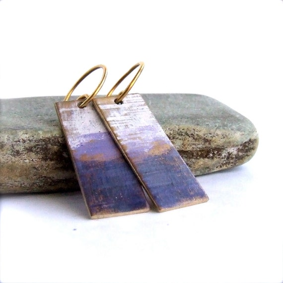 White Purple Gradient Textured Rectangle - Patina Earrings - Ombre Gradient- Fall Fashion