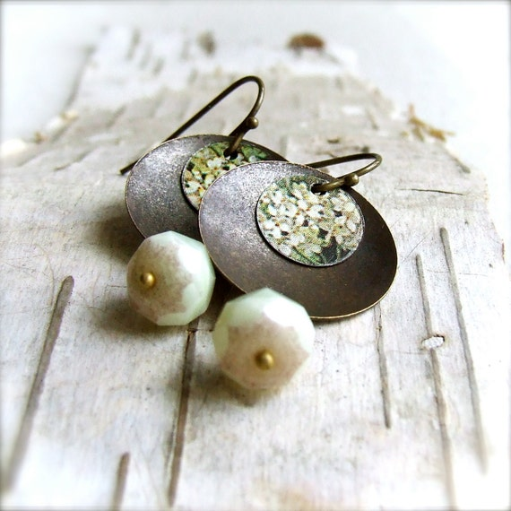White Floral Vintage Tin Disk, Cream Faceted Glass - Earrings -Babys Breath - Handmade Fashion