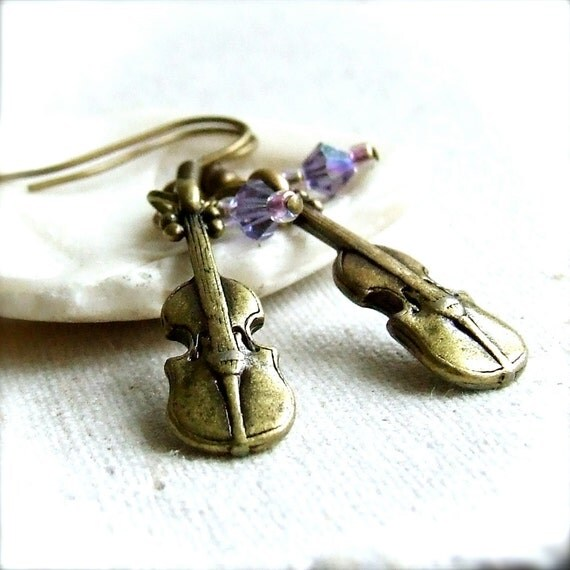 SALE - Swarovski and Brass - Earrings - Violinist