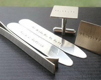 Sterling Silver Gift Set - Collar Stays- Cufflinks thick 2 inch Tie Bar - Custom inscription