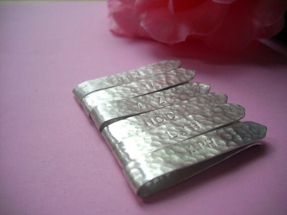 t i e b a r - Custom Text - Clip to keep neckties in place - Sterling Silver