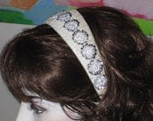 Suomynona Couture Headband Silver Sequins Beads on Soft Pearl White Silk