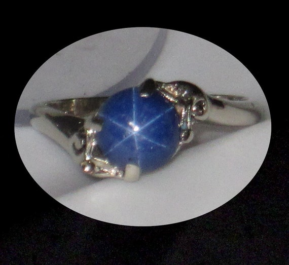 Sapphire Ring With Star Hallmark Stamp Inside 96