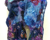 Highly textured  Nuno Felted Scarf  Hand dyed  in Blues and Violets