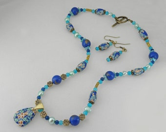 Necklace set polymer clay beads in Ocean blue green colors