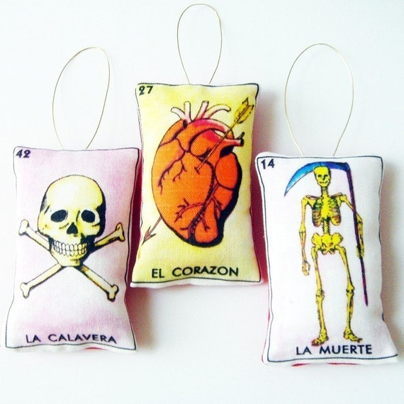 LOTERIA ORNAMENTS  Skull, Heart, Death