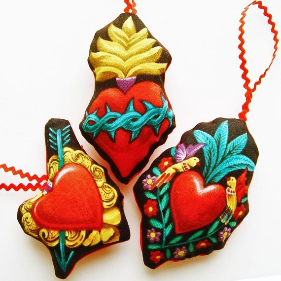 Ornaments, fabric Mexican Sacred Heart