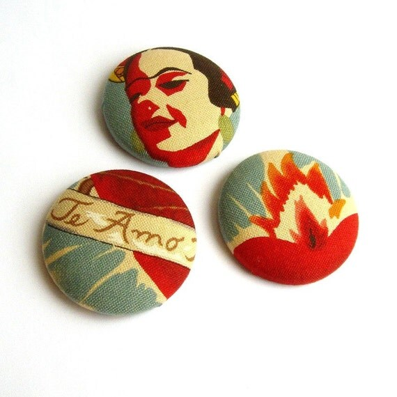 MAGNETS - Mexican Frida Kahlo Set - fabric covered buttons