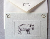 HYENA safari zoo animal note cards card gift hand crafted 5 pack
