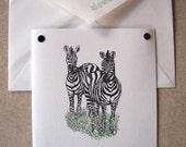 ZEBRA safari zoo animal note cards card gift hand crafted 5 pack